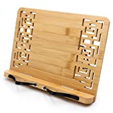 Bamboo Book Holder Stand for Reading Recipe Book Stand for Kitchen Adjustable Document Stand for Table PC and Testbook