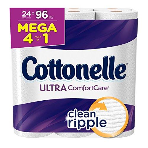 Cottonelle Ultra Comfort Care Toilet Paper, Bath Tissue, 24 Mega Toilet Paper Rolls (Toilet Double Roll Cottonelle Paper)