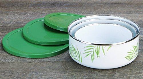 Corelle Coordinates by Reston Lloyd - Esmalte de 6 piezas en tazón de acero /juego de almacenamiento, hoja de bambú