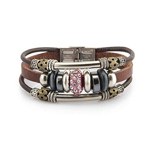 - Fashion Plaza Vintage Cubic Zirconia Bead Triple Strands Leather Bracelet L202