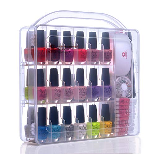 Makartt Portable Gel Nail Polish Organizer Nail Tools Holder for 36 bottles- with Large Separate Compartment for Tools, See-through Universal Case, N-02