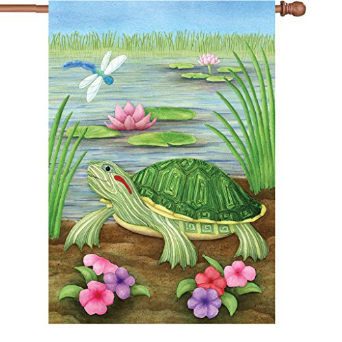 Premier Kites 52027 House Illuminated Flag, Turtle at The Pond, 28 by 40-Inch