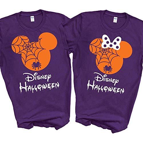 Disney Halloween T-Shirts Matching Vacation Apparel Shirts for Family Men Women Boys Girls Baby Spiderweb Mickey Minnie Ears Orange ()