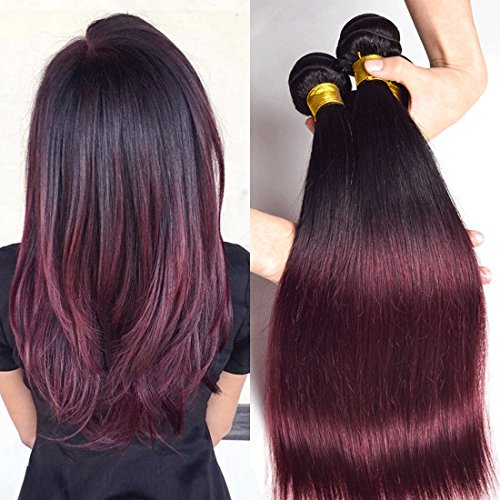 Two Tone 3 Bundles Mixed Length Brazilian Straight Hair Burgundy Ombre 1b 99j Sleek Red Wine Color Remy Human Hair Extension Weave Weft 14 16 18 inches (Extensions Hair Human Sleek)