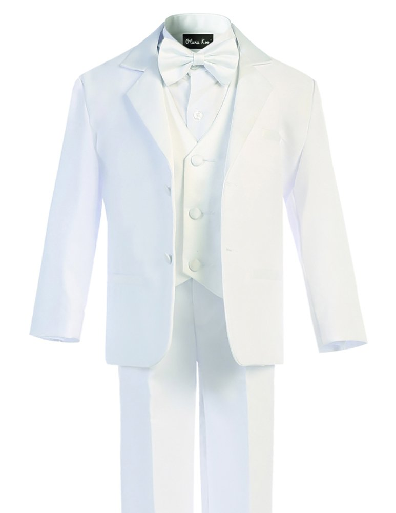 OLIVIA KOO Boys Classic Tuxedo Suit with No Tail,White Two Button,2T