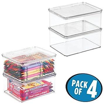 mDesign Juego de 4 cajas de almacenaje con tapa - Organizador de juguetes apilable para la habitación de los niños - Guarda juguetes fabricado en plástico ...