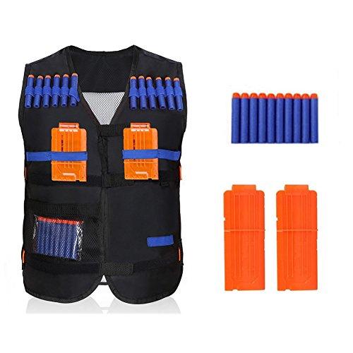 Chaleco táctico para niños, 10 piezas de dardos de espuma suave y 2 piezas de revistas de plástico para pistola Nerf...