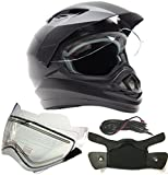 Dual Sport Snocross Snowmobile Helmet w/ Electric Heated Shield - Matte Black - XL