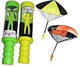Tangle Free Skydiver Toy Parachute Man With Launcher 2 Pack! (Colors and Styles May Vary)