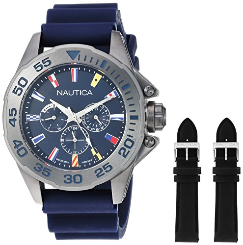 Nautica Men's 'MIAMI' Quartz Stainless Steel and Silicone Casual Watch, Color:Blue (Model: NAPMIA008)
