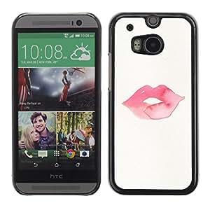 Cubierta de la caja de protección la piel dura para el HTC ONE M8 2014 - lips kiss love pink red minimalist white