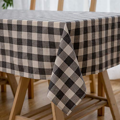 Aquazolax Grey Tablecloth for Rectangle Table 54x72 Tartan Plaid Pattern Table Covers for Wedding Events Parties Decoration, Grey -