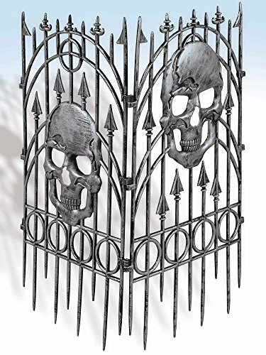 [Forum Novelties Silver Skull Fence Prop, 2-Pieces] (Count Gothic Costumes)
