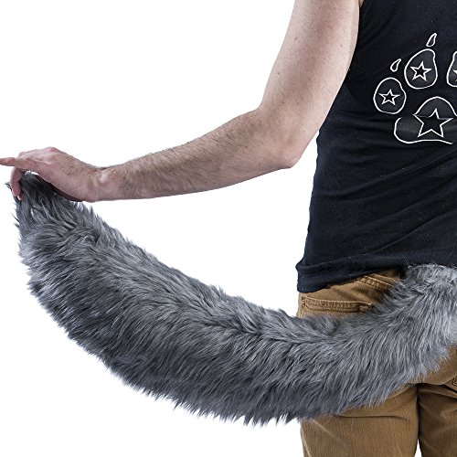 Wolf Tails Costume (Pawstar Furry Plush Wolf Tail Puppy Dog Costume - Gray)