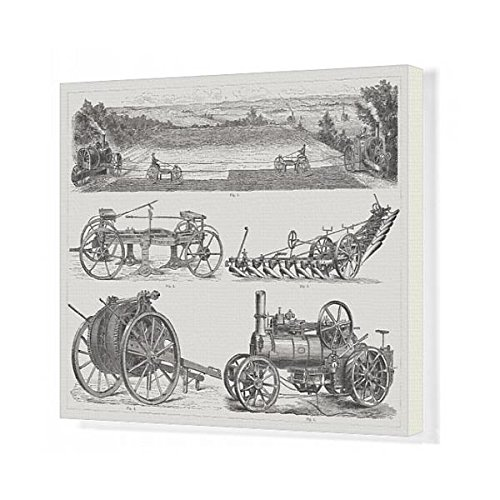 Media Storehouse 20x16 Canvas Print of Steam ploughing engines, wood engravings, published 1875 (14438461) (Frame System Plow)