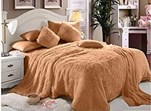 Luxe Soft Faux Fur Beige Double King Set Of 6-piece Solid Bedding Set