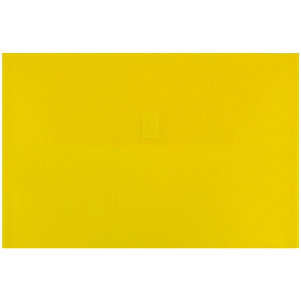 JAM PAPER Plastic Envelopes with Hook & Loop Closure - Legal Booklet - 9 3/4 x 14 1/2 - Yellow - 12/Pack