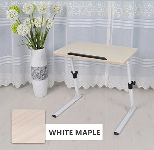 Unicoo - Height Adjustable Laptop Desk Stand, Adjustable Laptop Table, Portable Standing Bed Desk Sofa Table Notebook Stand Reading Holder (White Maple - S1)