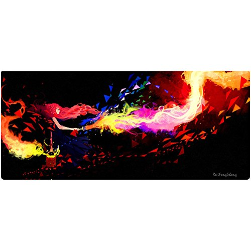 Ruifengsheng Extended Gaming Mouse Pad XXL Mouse Mat Large Mouse Pad Non-Slip Professional Precision Tracking Surface (35.4 x 15.7)90x40 (90x40 Torch019)