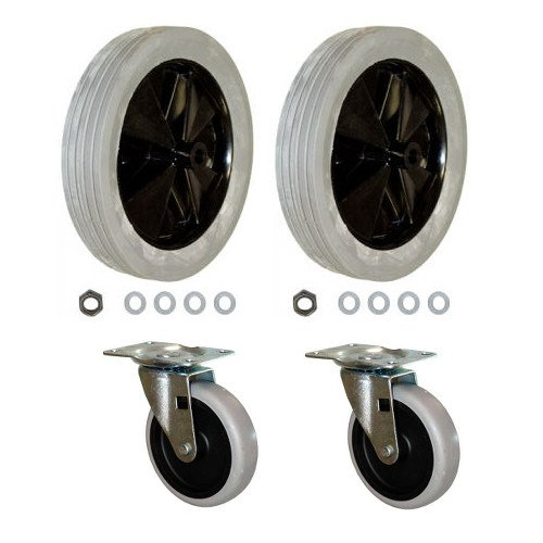 Rubbermaid Commerical Tilt Truck Replacement Wheels for 1011 Tilt Truck, Set of 2 Large and 2 Small -