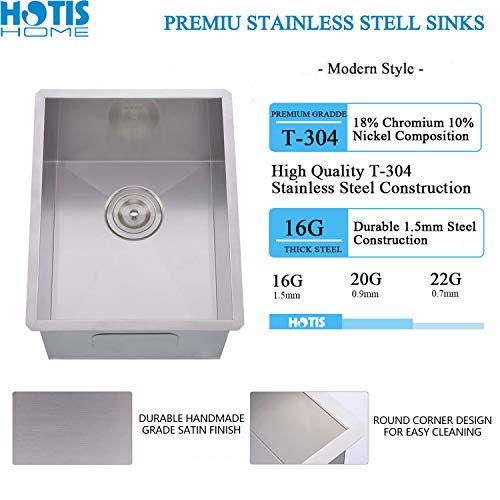 Hotis Commercial Stainless Steel Single Bowl Drop In 15 x 17 Inch Undermount Square Small Prep Kitchen Sink, Bar/Prep Kitchen Sinks With Strainer by HOTIS HOME (Image #2)