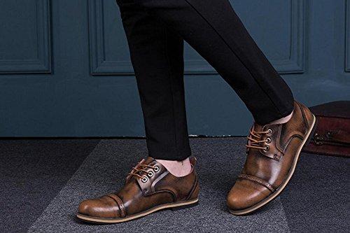 Jiye Mens Äkta Läder Oxfords Skor Brun