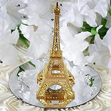 Amazon.com: BalsaCircle 6-Inch Gold Metal Eiffel Tower Centerpiece ...
