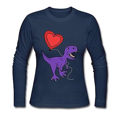 Amazon.com  Women s T-rex Dinosaur with Love Balloon ComfortSoft  Long-Sleeve T-Shirt Cotton Tee  Clothing 84b70cbd86