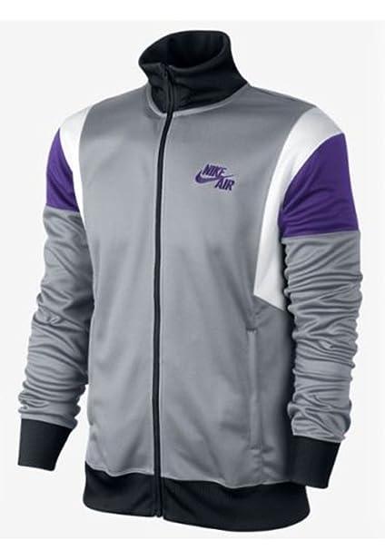 fd1c9997a221 Amazon.com  Nike Mens Basketball Air Time 2.0 Zip Jacket Gray Purple ...
