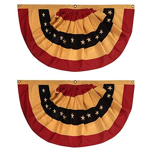 SET of TWO 100% Cotton American Primitive Tea Stained Flag Bunting 40