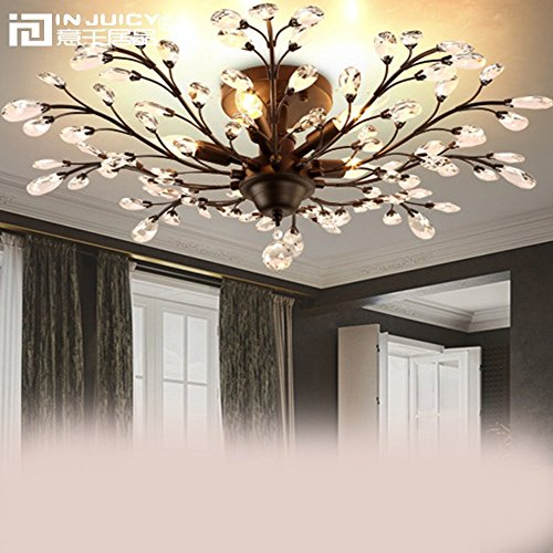 Iron Wrought Branch (Injuicy Lighting Vintage K9 Crystal Metal Edison Branches Led Ceiling Lights Fixtures Retro Wrought Iron French Villa Ceiling Lamp Shade for Living Room Bedroom Porch Chandelier (Dia. 780mm Black))