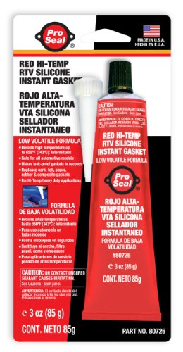 - Pro-Seal RTV Silicone Sealant, 3 oz Tube, Red