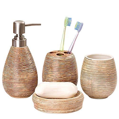 Ceramics Soap Dish, Soap Dispenser, Tumbler Bathroom Accessory 4 Piece Set