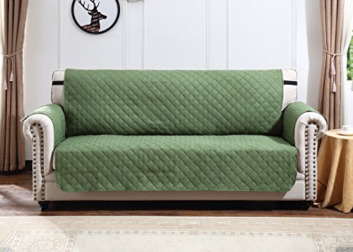Argstar Reversible Sofa Cover Couch Slipcover Professional Furniture Protector Home Decor Green/Sage (3 - Couch Sage