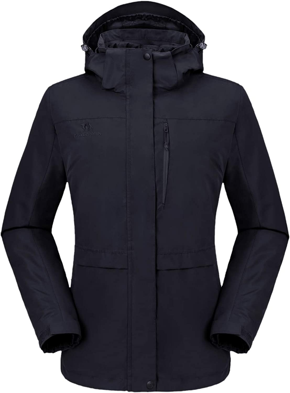 CAMEL CROWN Women's 3-in-1 Waterproof Ski Snow Jacket Hooded Winter Coat with Puffer Liner: Clothing
