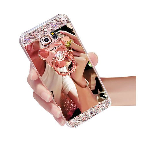 For Samsung Galaxy A7 2017 Case,Shintop Luxury Mirror Case Soft TPU Silicone Bling Diamond Glitter Crystal Rhinestone Cover Shockproof Protective Case Shell with Bear 360 Ring Stand Holder-Rose Gold - Shell Bear