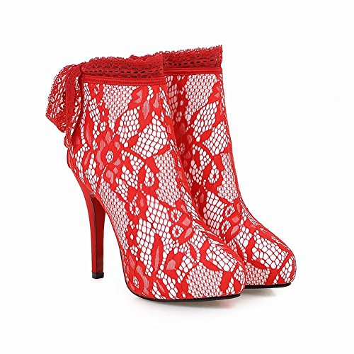 Charm Foot Womens Lace Fabric Platform High Heel Ankle Booties Red D8tBsm3jpO