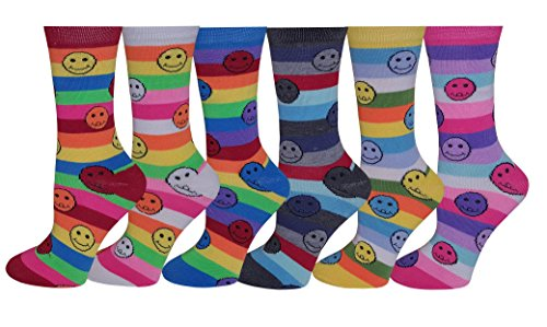 Differenttouch 6 Pairs Women's Fancy Design Multi Color Novelty Crew Socks (Smiley Face),Size 9-11