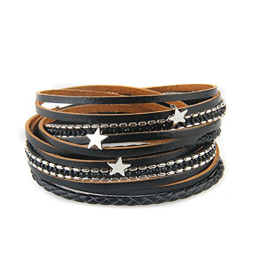 ti-layer Leather Bracelet Braided Wrap Bangle Cuff Alloy Magnetic Clasp (Belt Buckle Cubic Zirconia Letter)