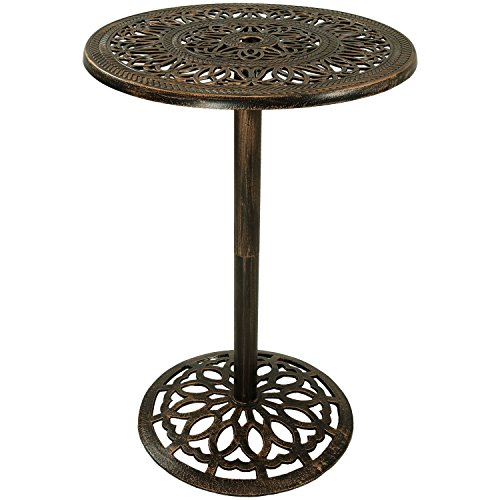 Sunnydaze Bar Height Patio Table, Outdoor Round High Top Pub Table, Durable Cast Iron, 26 Inch Diameter, 40 Inch Tall ()