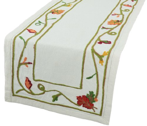 Xia Home Fashions Harvest Vine Crewel Embroidered Table Runner, 16-Inch by 36-Inch