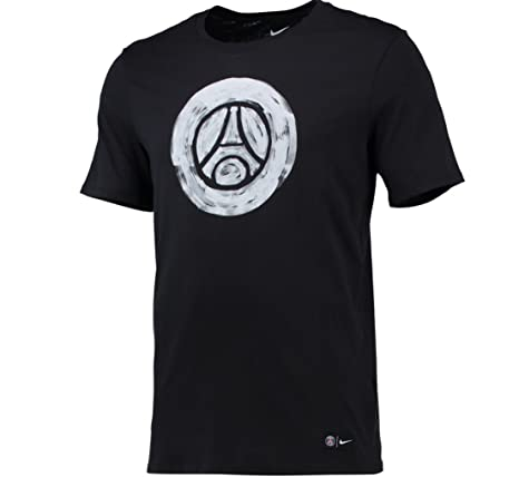 cd0c0335dbf Amazon.com   Nike Mens Paris-Saint Germain Crest T-Shirt  BLACK  (XL ...