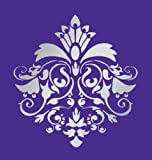 Size 16'' x 17'' Designer Damask Stencil for Walls, Cakes, Curtains, Murals, Faux, Design #1026