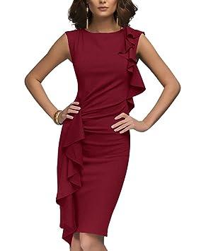Guiran Mujer Vestidos De Fiesta Cortos Coctel Elegantes Flounced Bodycon Lápiz Vestidos De Negocios Oficinas Rojo