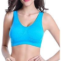 Sports Bra Yoga Fitness Single-Layer Vest No Trace Gathering Comfortable Underwear Bra (Various Styles) - Blue - Small