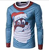 Doufine Mens Cartoon Christmas Casual Slim Fit Long Sleeve Pullover Top M