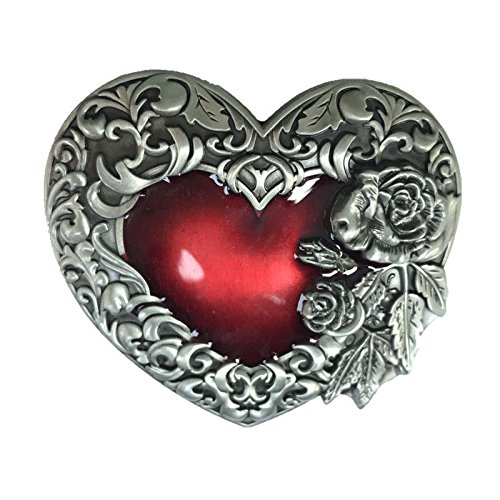 Unique Red Heart Rose Flower Floral Silver Plated Belt Buckle Filigree ()