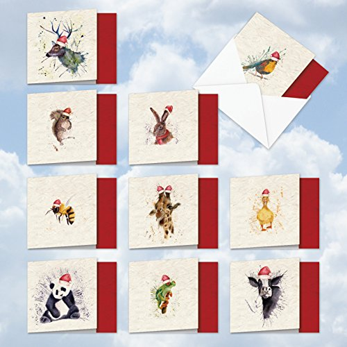 """Hat Box Assortment - 10 'Wildlife Expressions' Happy Holiday Thank You Cards - Assortment Box W/Envelopes (4"""" x 5-1/8"""") - Cute Water Color Animals with Santa Hats on Splatter Backgrounds - Merry Christmas MQ2973XTG-B1x10"""