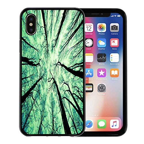 Emvency Phone Case for Apple iPhone Xs Case/iPhone X Case,Aspen Green Cedar Looking Up at The Sky White Soft Rubber Border Decorative, Black