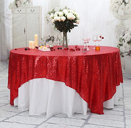 PartyDelight Sequin Tablecloth, Sparkly Tree Skirt, Christmas Decor, Square, 90